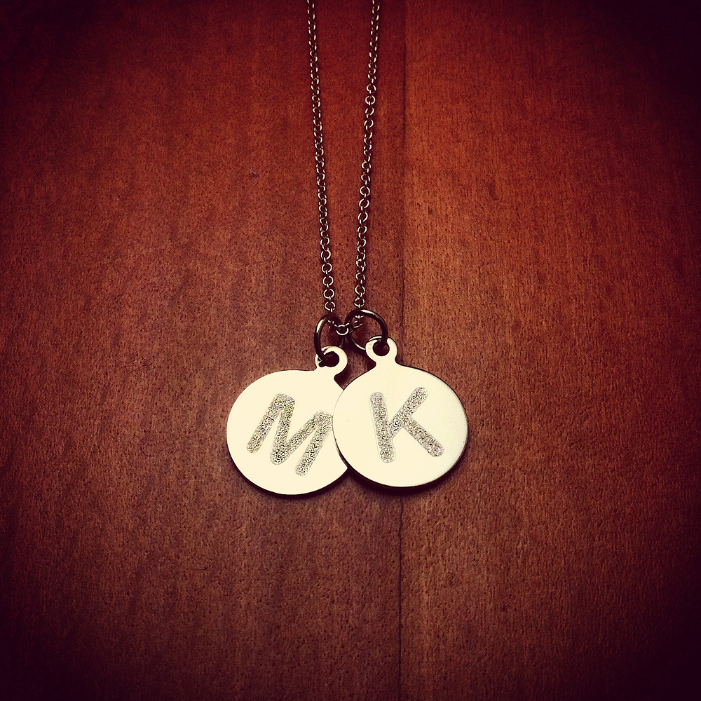 Double Initial Disc Necklace M and K in 14k Gold