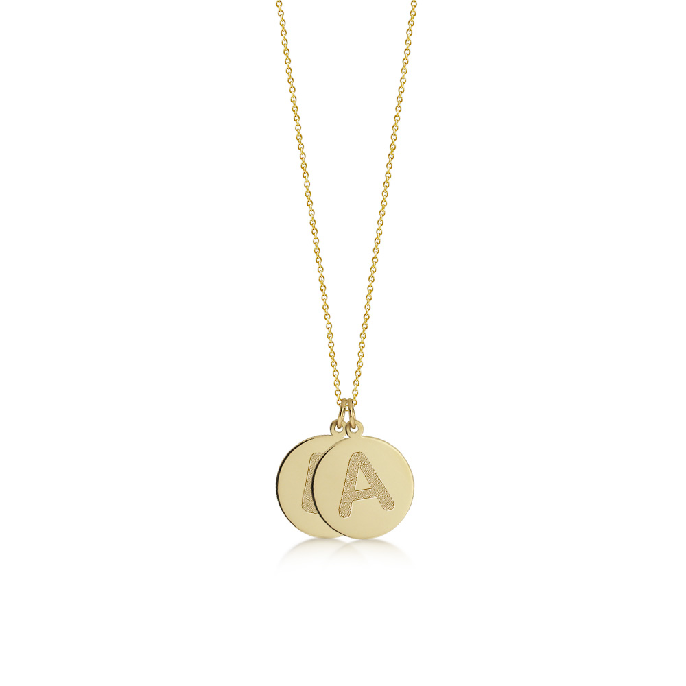 Gold Double Initial Disc Necklace Zoom View