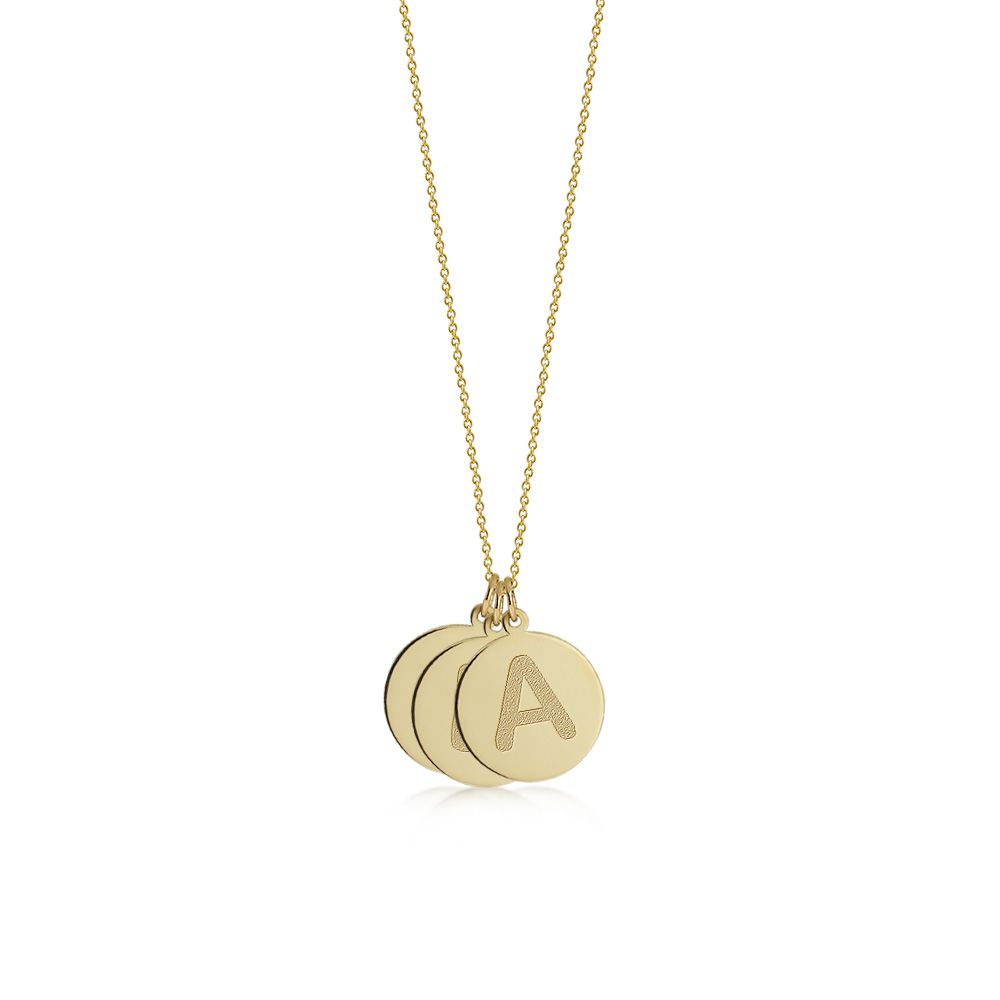 Gold 3 Initial Disc Necklace Zoom View