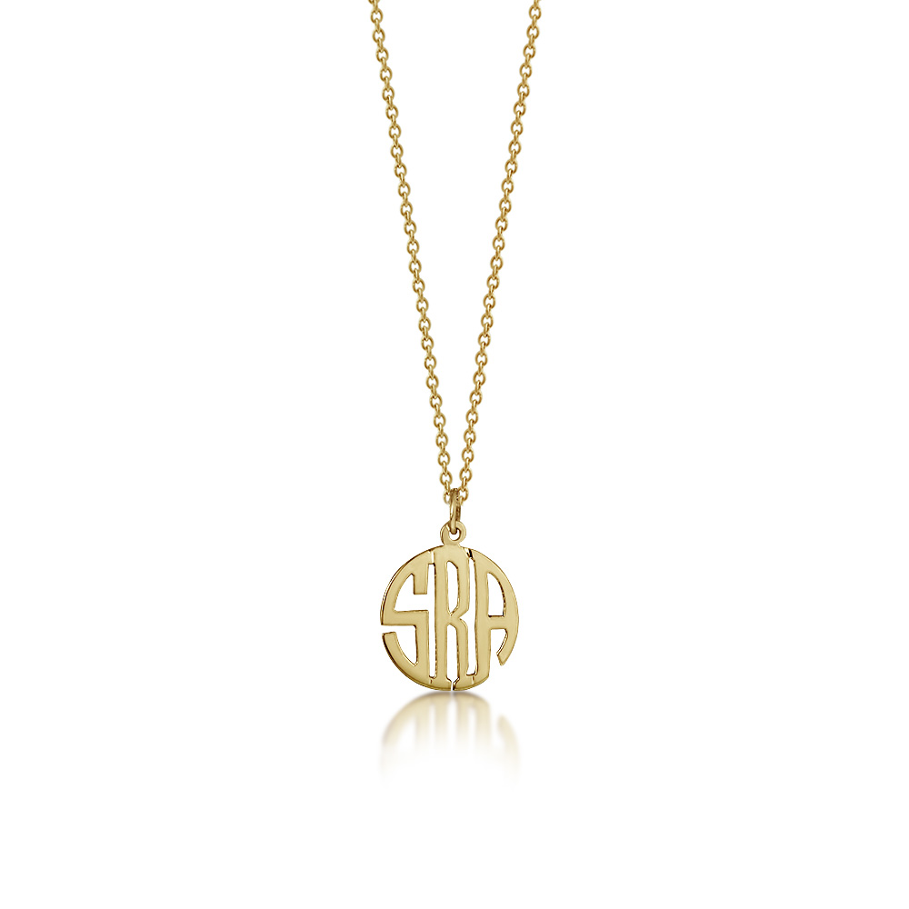 Cut Out Circle Monogram Necklace Zoom View