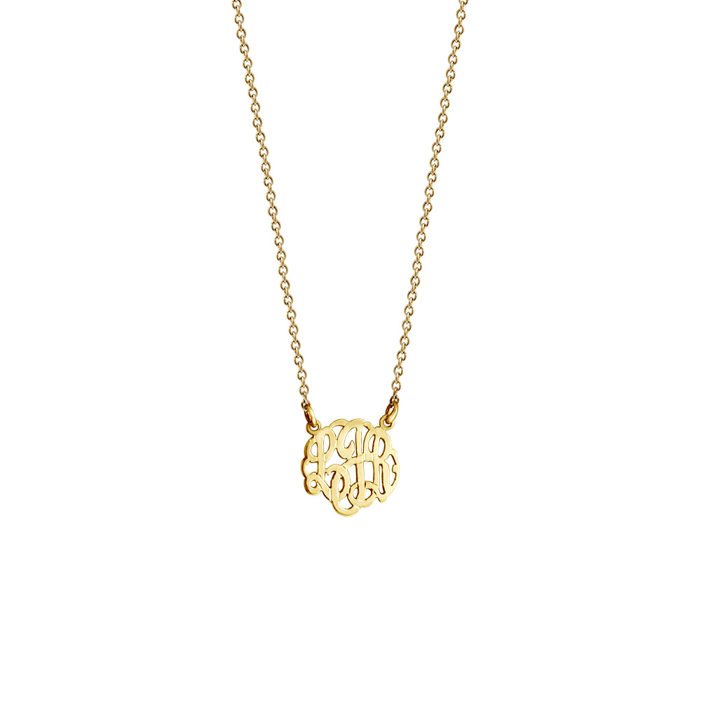 Childrens Gold Monogram Necklace Zoom View