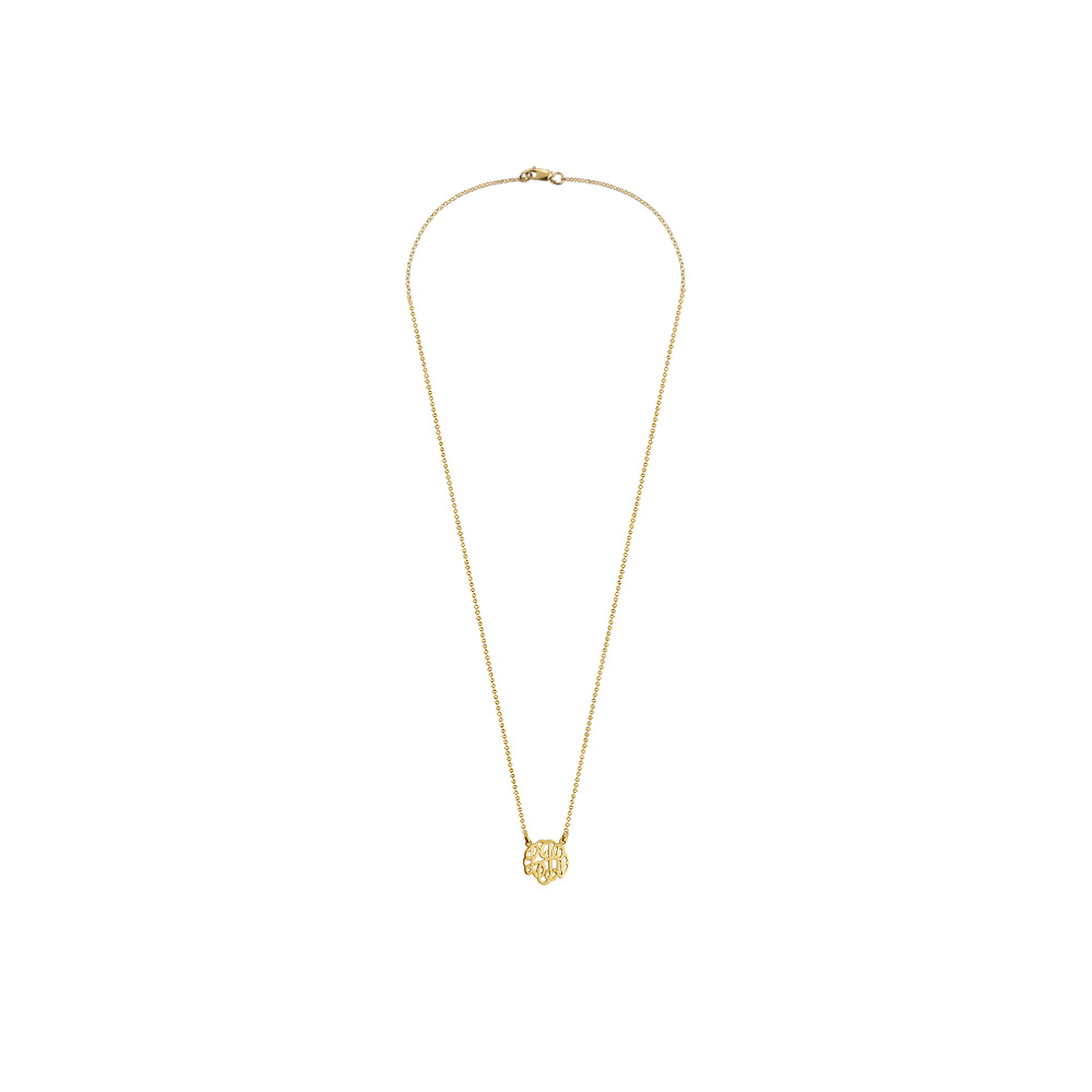 Childrens Gold Monogram Neckalce Zoom View