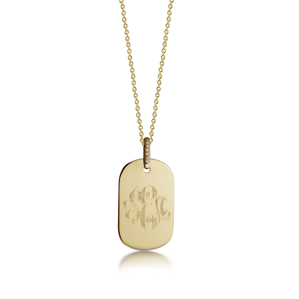 14k Gold Women's Monogrammed Small Dog Tag Necklace with Diamond Bail