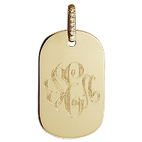 14k Gold Women's Monogrammed Dog Tag Necklace Engraving