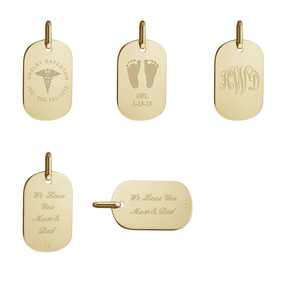 14k Gold Women's Small Dog Tag Necklace Engraving