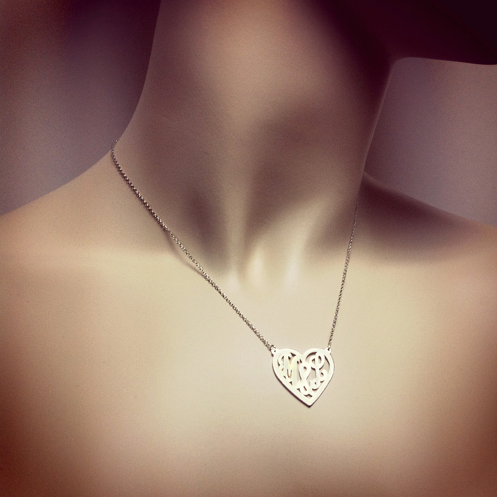 14k White Gold Cut Out Initial Heart Necklace Fit View