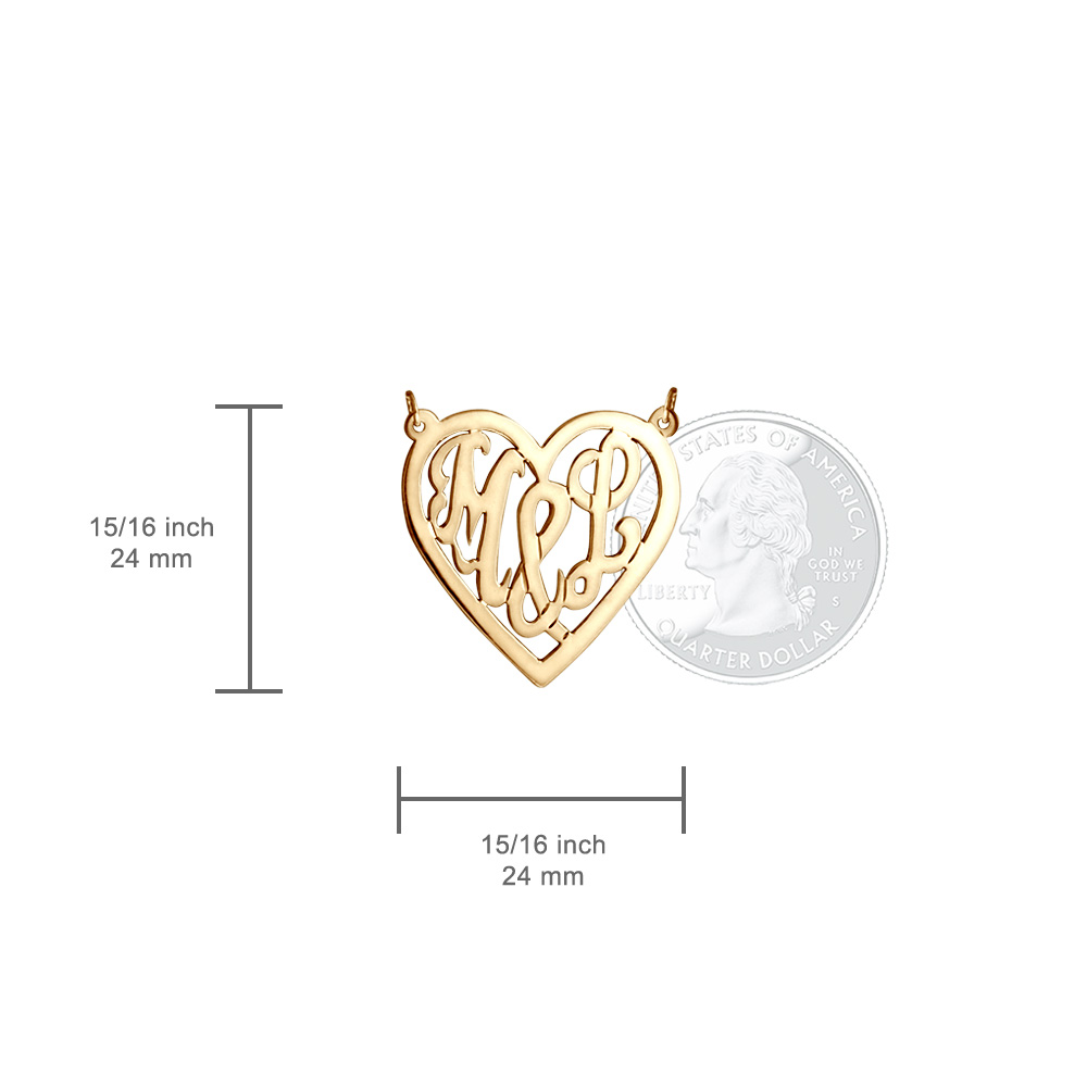 14k Gold Plated Cut Out Initial Heart Necklace Size View