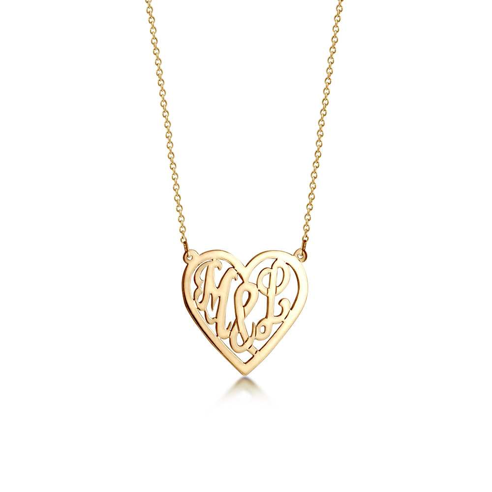 14k Gold Cut Out Initial Heart Necklace Zoom View