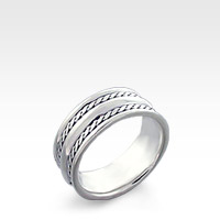 Dual Weave Ridge Men's Sterling Silver Ring