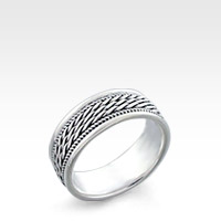 7mm Men's Sterling Silver Metal Weave Ring