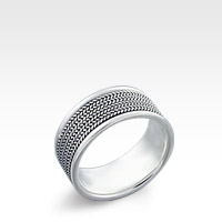 9mm Wide Men's Sterling Silver Milgrain Etched Ring