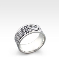 9mm Wide Men's Sterling Silver Milgrain Ridge Ring