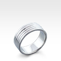 Men's Sterling Silver Multi-Rib Ring