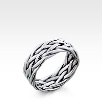Men's Sterling Silver Celtic-Weave Ring