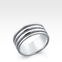 Men's Sterling Silver Multi-Milgrain Band Ring