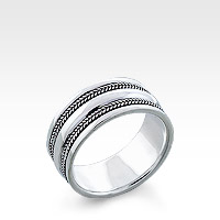 Men's Sterling Silver Milgrain Ridge Ring