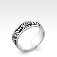 Men's Sterling Silver Bali Plat Ring