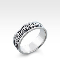 Men's Silver Milgrain Bordered Celtic Braid Ring