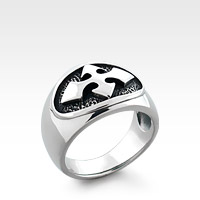 Men's Sterling Silver Gothic Arrow Cross Signet Ring