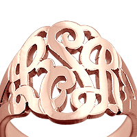Monogram Ring Engraving Detail