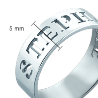 Cut Out Name Ring Size View