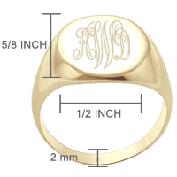 Monogram Signet Ring Size