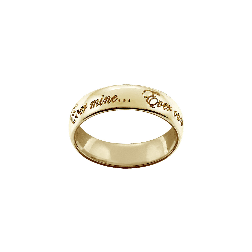 Men's Custom Engraved Heavy-weight High Dome Comfort Fit Wedding Ring In 14k Yellow Gold (6mm) Picture