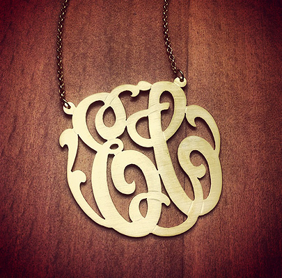 2 Initial Monogram Necklace in 14k Gold Vermeil