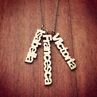 14k Solid Gold Personalized Name Charm Necklace