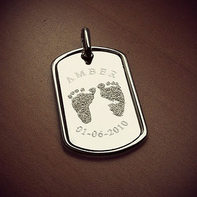 Custom Engraved Dog Tag with Baby Feet for Fathers Day