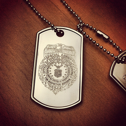 Custom engraved men's dog tag with police badge