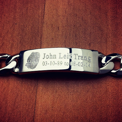 Memorial Mens ID Bracelet - Custom engraved with Fingerprint