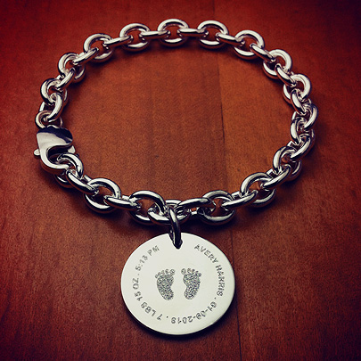 Sterling Silver Baby Footprints Disc Charm Bracelet for New Mom