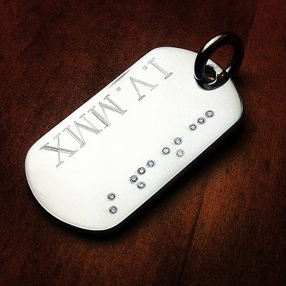 Engraved Diamond Braille Dog Tag Necklace