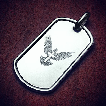 Custom Engraved Dove and Cross Dog Tag for Men
