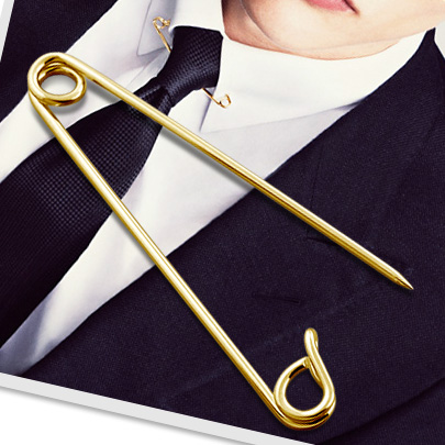 14k Gold Safety Pin Collar Pin