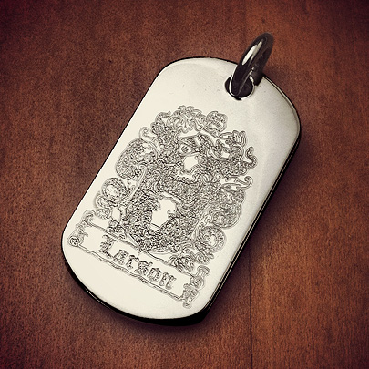 Custom Engraved Dog Tag with a Family Crest