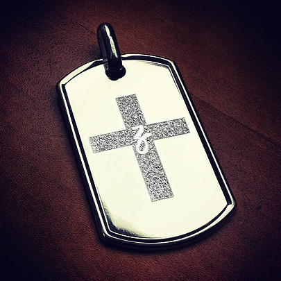 Custom Engraved Dog Tag with Cross