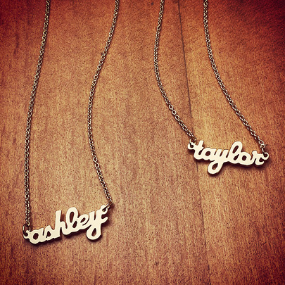 14k Solid Cursive Mini Name Plate Necklace