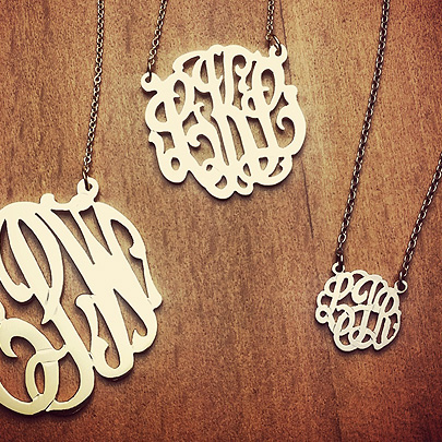 14k Gold Cut Out Script Initial Monogram Necklaces