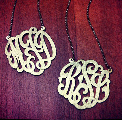 Interlocking Script Initial Monogram Necklaces