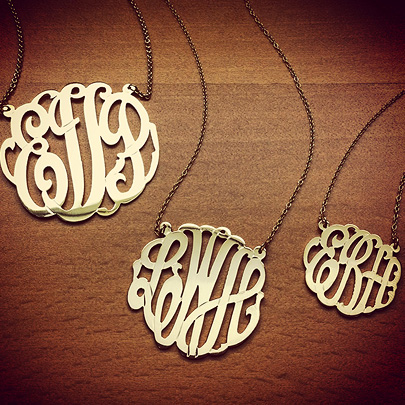 Gold Lace Monogram Necklaces in Large, Medium and Small Sizes