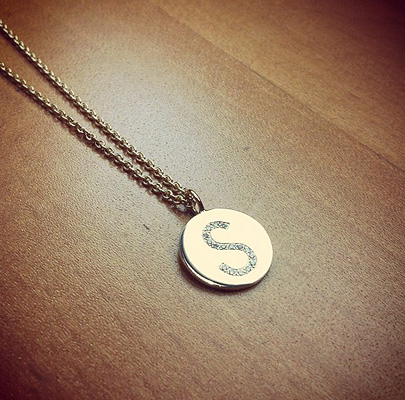 S Diamond Initial Necklace in 14k Gold