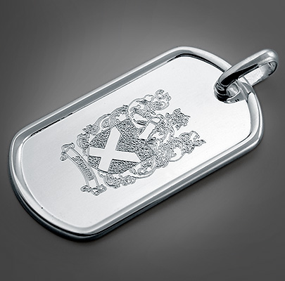 Custom Engraved Dog Tag for Father with Family Crest