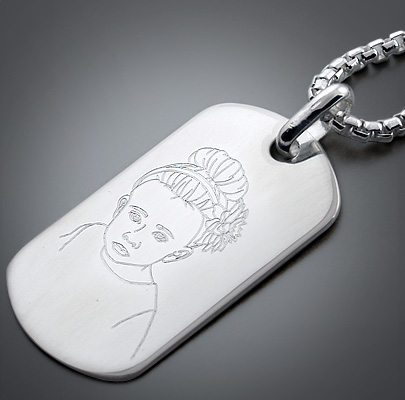 Custom Engraved Dog Tag with Illustration of Daughter