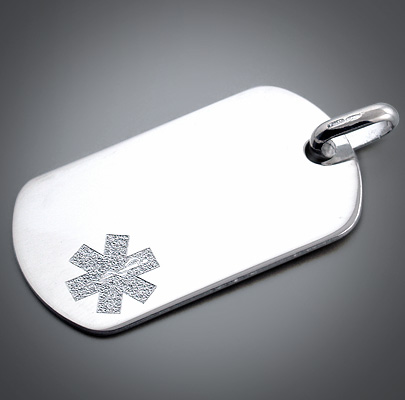 Engraved Men's Dog Tag with Custom Medical Alert Symbol