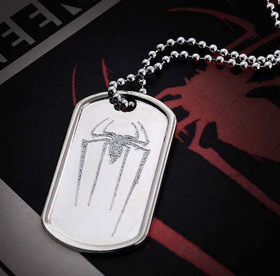 Mens Dog Tag Engraved with Amazing Spider Man Symbol