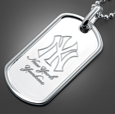 Dog Tag Engraved with NY Yankee Logo