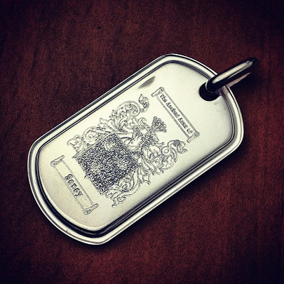 Mens Dog Tag Custom Engraved with a Family Crest