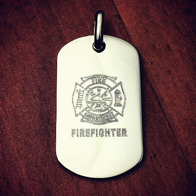 Custom Engraved Fire Department Dog Tag Necklace